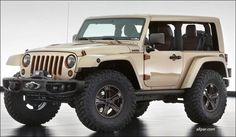 Jeep Wrangler Flattop: 2013 Moab Concept. Featuring a custom one-piece, windowless hard top, the body is finished in a metallic sandstone with copper and brown accents. The top and windshield were chopped two inches, and the b-pillar was removed creating a massive opening from front to rear. The door and hood hinges, tow hooks, grille slats and headlamp surrounds are finished in a copper tone, and the bumpers, side rails, side mirrors and hood decal are dark brown.
