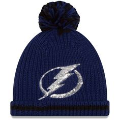6f2061b0e50 Women s Tampa Bay Lightning New Era Blue Sequin Frost Cuffed Knit Hat with  Pom
