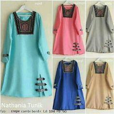 Baju Muslim Atasan Nathania Tunik Crepe Bordir Terbaru - http://bajumuslimbaru.com/baju-muslim-atasan-nathania-tunik-crepe-bordir