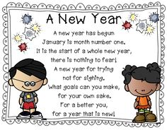 A New Year poem along with 4 others that have a winter theme, great for shared reading time. The poems are also made for your pocket chart, a great winter center activity also and perfect for first graders. Happy New Year Poem, New Year Wishes, First Grade Poems, Kindergarten Poems, Kindergarten Classroom, Poems About School, School Poems, Bujo, Winter Thema