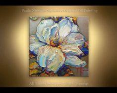 Pintura mañana floraciones en lona espátula óleo de por Artcoast