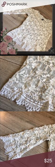 POLECI LACE BLOUSE Lace quarter sleeve blouse size medium unsure of materials it is lined POLECI Tops Blouses