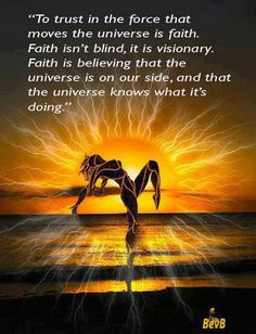 'To trust in the force that moves the universe is faith. Faith isn't blind, it is visionary. Faith is believing that the universe is on our side, and that the universe knows what it's doing' ~ via Facebook