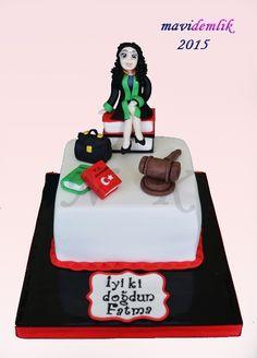 mavi demlik mutfağı- izmir butik pasta kurabiye cupcake tasarım- şeker hamurlu-kur: AVUKAT TEMALI DOĞUM GÜNÜ PASTASI
