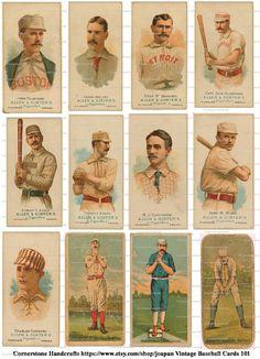 Collage Sheet Vintage Baseball Cards 101  Instant Digital Download #Baseball #Vintage
