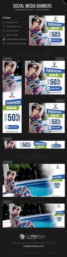Google Adwords Display Banner with Facebook banners -Fashion Store for Website Marketing
