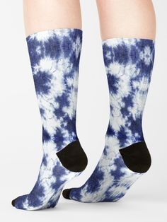 """Reverse Dragon Shibori Indigo"" Socks by ninabmay | Redbubble Tie Dye Fashion, Fabric Art, Shibori, Chiffon Tops, Indigo, Dragon, Blue And White, Socks, Fashion Outfits"