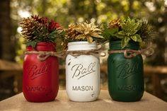 Christmas Themed Set of 3 pint size painted and distressed mason jars. Christmas Vase. Painted mason jar