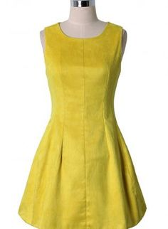 Yellow Sleeveless A-Line Dress,  Dress, sleeveless dress  a-line dress, Casual