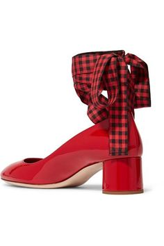 Heel measures approximately 45mm/ 2 inches Red patent-leather Ties at ankle Made in Italy