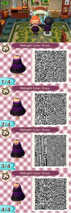 Midnight Cyber Dress ~Created by Ashley~ Animal Crossing Game, Motifs Animal, Wind Waker, Happy Home Designer, Animal Games, New Leaf, Style Fashion, My Tumblr, Videogames