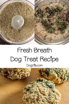 Ready to give Fido's stinky breath a makeover? Our homemade fresh breath dog treat recipe should do the trick! If you're looking for hypoallergenic dog treat recipes these are great unless your pooch has an oat or egg allergy Homemade Playdough, Homemade Dog Treats, Dog Nutrition, Nutrition Guide, Dog Treat Recipes, Dog Food Recipes, Dog Treat Toys, Dog Toys, Cooker Dog