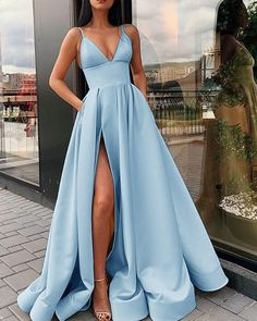 prom blue Emerald Green /Baby Blue Sexy A Line Women Formal Prom Gowns with Spli Siaoryne Prom Dress Black, Baby Blue Prom Dresses, Senior Prom Dresses, Pretty Prom Dresses, Prom Outfits, Prom Dresses Blue, Ball Dresses, Cute Dresses, Prom Gowns