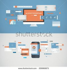 Set of flat design concepts for mobile app and website design development with included UI/UX elements, for web banners and printed materials for the service and the development process presentation.
