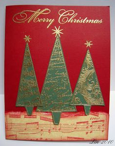 Old stamp Hero Arts trees embossed in gold
