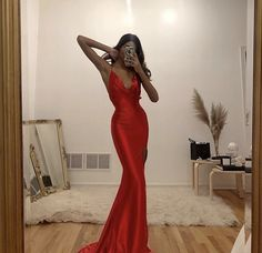 sexy light red sleeveless v-neck satin full length evening dress women dress simple spaghetti-strasp slit-skirt long prom dress Cute Prom Dresses, Prom Outfits, Dinner Outfits, Gala Dresses, Night Outfits, Elegant Dresses, Pretty Dresses, Beautiful Dresses, Fashion Outfits
