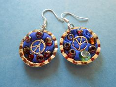 Polymer Clay Bottle Cap Peace Earrings by Prince by GregandGreta, $5.00