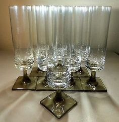 "$99.99 starting bid. Vintage Rosenthal Linear Smoke Crystal 7.5"" Parfait Wine Glasses (8) mid-century"