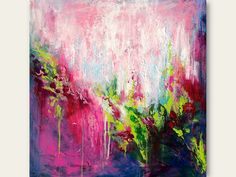 Abstract Floral Original Painting on Canvas - Contemporary Home Decor - Fine Art
