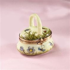 Limoges Yellow Basket with Violets Box The Cottage Shop