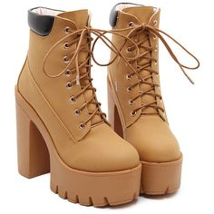 Apricot Chunky High Heel Hidden Platform Boots ($40) ❤ liked on Polyvore featuring shoes, boots, girl shoes, zapatos, apricot, laced boots, chunky platform boots, platform shoes, round toe boots and lace up boots