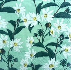 4 Single Lunch Paper Napkins for Decoupage Party Craft Vintage White Daisies