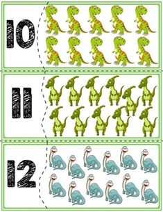 Dinosaur Self-Correcting Quantity Puzzles Dinosaurs Preschool, Dinosaur Activities, Preschool Learning Activities, Teaching Geography, Teaching History, Teaching Spanish, 1st Grade Worksheets, Worksheets For Kids, German Language Learning