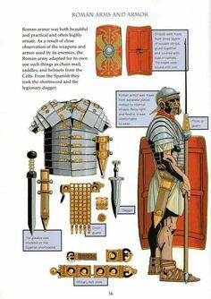 Yes lot of post like that is coming. Good description of a Roman arms and armor, I think this image is pretty accurate, let us know for the… Roman Armor, Ancient Armor, Rome Antique, Roman Warriors, Roman Legion, Empire Romain, Roman Era, Armadura Medieval, Roman History