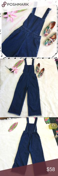 """Zara Distressed Overall Crop Jumper Dungarees Zara Woman distressed overalls jumper. Pull on style has distressing on the sides of the fixed straps, cut off bottoms (ankle length), oversized fit, elastic half waistband around back, and side slit pockets. Straps have been slightly taken up for fit but the stitching can be removed. 3 tiny holes on bottom Back leg. Farmer country girl just got a distressed makeover. Wear with a pair of white high top Converse All-Stars. Total length 55"""", Inseam…"""