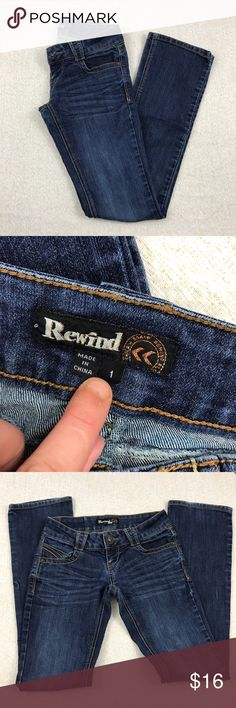 Boot cut size one dark wash jeans Rewind size one. Lying flat and unstretched approximate measurements are waist 13 inches, rise 6 inches, outs seem 38 1/2 inches, inseam 32 inches. Flaws one small snag at bottom as pictured very light signs of wear on hems rewind Jeans Straight Leg