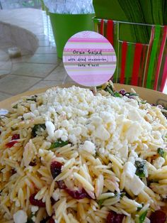 orzo pasta salad with feta and cranberry.. made this and swapped out the feta for goat cheese, added a little red onion, and used orange flavored cranberries instead of plain.. DELICIOUS!