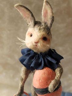 Easter display vignette spun cotton Bunny egg and basket OOAK vintage craft by jejeMae Loom Yarn, Victorian Christmas Ornaments, Vintage Crafts, Vintage Easter, Hanging Ornaments, Hand Spinning, Bunny Rabbit, Vignettes, Needle Felting