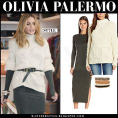 Olivia Palermo in cream chunky knit belted sweater and grey bodycon dress