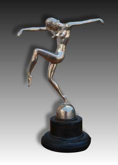 Very uncommon art deco bronze sculpture of a dancer. Perhaps car mascot / hood ornament ? Not signed.