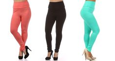 Spring Colors are in Bloom: Mariah High Waist Leggings in Black, Coral, and Mint: Sizes 1X-3X