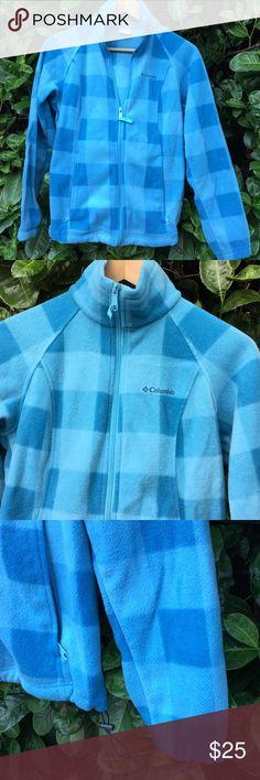 Columbia sportswear fleece zip up Fleece zip up in pretty blue shades.  Perfect condition, barely worn. Columbia Sweaters