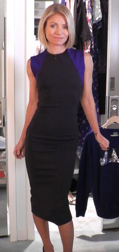 Kelly Ripa wore this pretty Victoria Beckham balck and blue dress. Kelly and Michael Fashion Finder