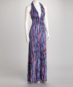 Take a look at this Blue & Pink Abstract Halter Maxi Dress by Ellen Parker on #zulily today! $19.99, regular 60.00