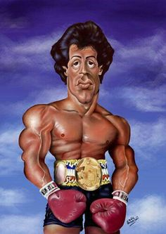 Caricature of Rocky Cartoon Faces, Funny Faces, Cartoon Art, Cartoon Characters, Funny Caricatures, Celebrity Caricatures, Rocky Balboa, Famous Cartoons, Funny Cartoons