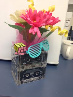 80's centerpieces 80s Birthday Parties, Birthday Party Themes, 30th Birthday, 80s Party Decorations, Party Centerpieces, Decade Party, 80s Theme, Disco Party, Party Planning