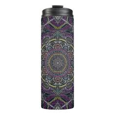 Sacred mandala stars and lace purple and black thermal tumbler - lace gifts style diy unique special ideas