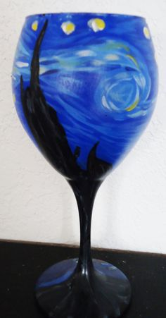 Starry Night Wine Glass by Infinity Designing on Etsy.