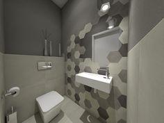 Łazienka geometryczna nowoczesna aranżacja Max-Fliz Kraków Bathroom Lighting, Toilet, Bathtub, Mirror, Furniture, Home Decor, Bathroom Light Fittings, Standing Bath, Bathroom Vanity Lighting
