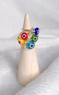 Wire Jewelry Rings, Handmade Wire Jewelry, Funky Jewelry, Handmade Rings, Hippie Jewelry, Beaded Jewelry, Crystal Jewelry, Diy Crystal Rings, Hippie Rings