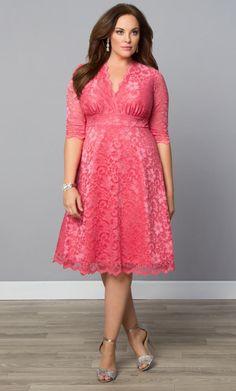 Mademoiselle Lace Dress #PlusSizeDressesPink