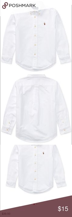 Ralph Lauren Polo White Button-Up Collared Shirt EXCELLENT CONDITION!! No rips, stains, holes etc. Ralph Lauren Polo brand plain white button-up collared shirt. NOTE: All of my items come from a clean, smoke-free, pet-free home. Ralph Lauren Shirts & Tops Button Down Shirts