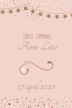 lovz.nl Moderne kaart meisje koper lentefeest - uitnodigingen voor je communiefeest - zelf maken