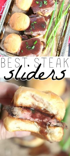STEAK SLIDERS – Steak sliders are a great appetizer or dinner idea. Serve them w… STEAK SLIDERS – Steak sliders are a great appetizer or dinner idea. Serve them with our easy red wine sauce and everyone will ask for the recipe! Entree Recipes, Vegan Recipes Easy, Easy Dinner Recipes, Appetizer Recipes, Beef Recipes, Cooking Recipes, Sandwich Recipes, Appetizer Dinner, Sandwich Ideas