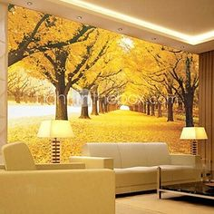 Contemporary 3D Shinny Leather Effect Large Mural Wallpaper Yellow Forest Art Wall Decor for Tv Sofa Background Wall - USD $38.99