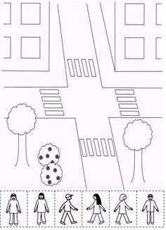 Pendant cette 4e période de l'année scolaire, les enfants ont travaillé sur le thème de la sécurité routière. J'ai le sentiment que cela les a bien intéressé : ils connaissaient déjà beaucoup de choses sur le sujet, en particulier sur le rôle du piéton.... Preschool Rules, Preschool Arts And Crafts, Animal Crafts For Kids, Preschool Learning Activities, Art For Kids, Road Safety Games, Birthday Emoticons, Transportation Activities, Learning English For Kids